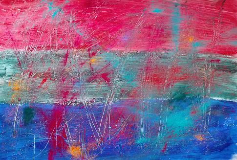 Blau-grau-rotes Gemälde