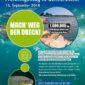 Plakat von Rhinecleanup mit Plastik im Wasser und einem Fisch