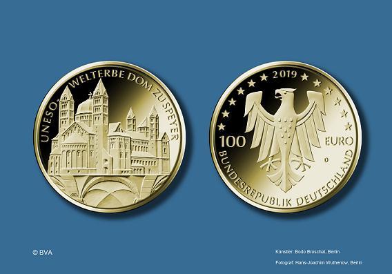 100 Euro Münze In Gold Unesco Welterbe Dom Zu Speyer Pfalz Express