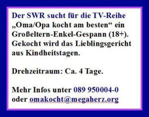 SWR sucht Darsteller - Oma/Opa kocht
