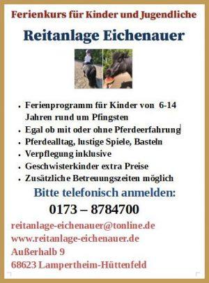 Reitanlage Eichenauer Ferienkurs Pfingsten